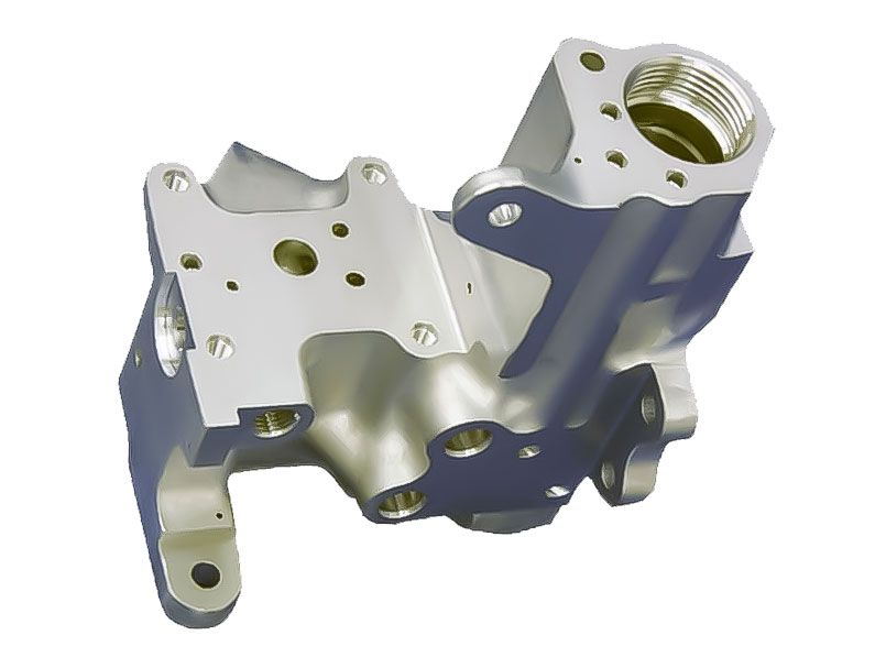 complex metal part cwith multiple angles, brackets, and thteaded areas created using additive 3-D printing