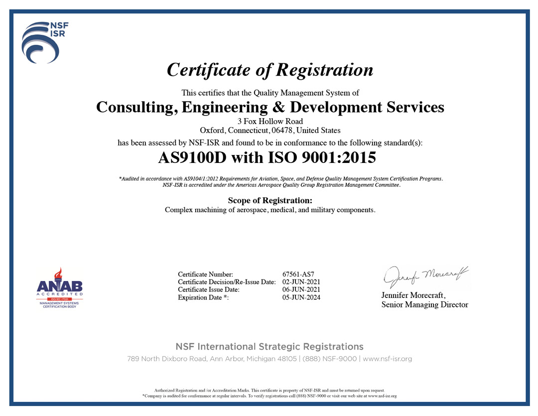 CED machining Certificate confirming AS 9100D and OSO 9001:2015 Registration requirements have been met.